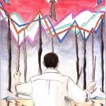 Disegno a penna e acquerello, Direttore d'orchestra, 29/07/12 Pasquale Mastrogiacomo Acerno (SA)