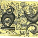 Studio per una scultura in marmo, disegno a penna,1994.