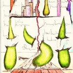 Vanità di tre cipressi, 01/08/2012, disegno a penna e acquerello, Pasquale Mastrogiacomo Acerno(SA)