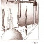 Disegno a penna, Paesaggio con comignoli 2009, Pasquale Mastrogiacomo Acerno(SA)