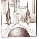 Disegno a penna, Paesaggio surreale 2009, Pasquale Mastrogiacomo Acerno(SA)
