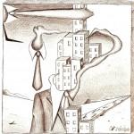 Disegno a penna, Mezzobusto con paesaggio 2010, Pasquale Mastrogiacomo Acerno (SA)