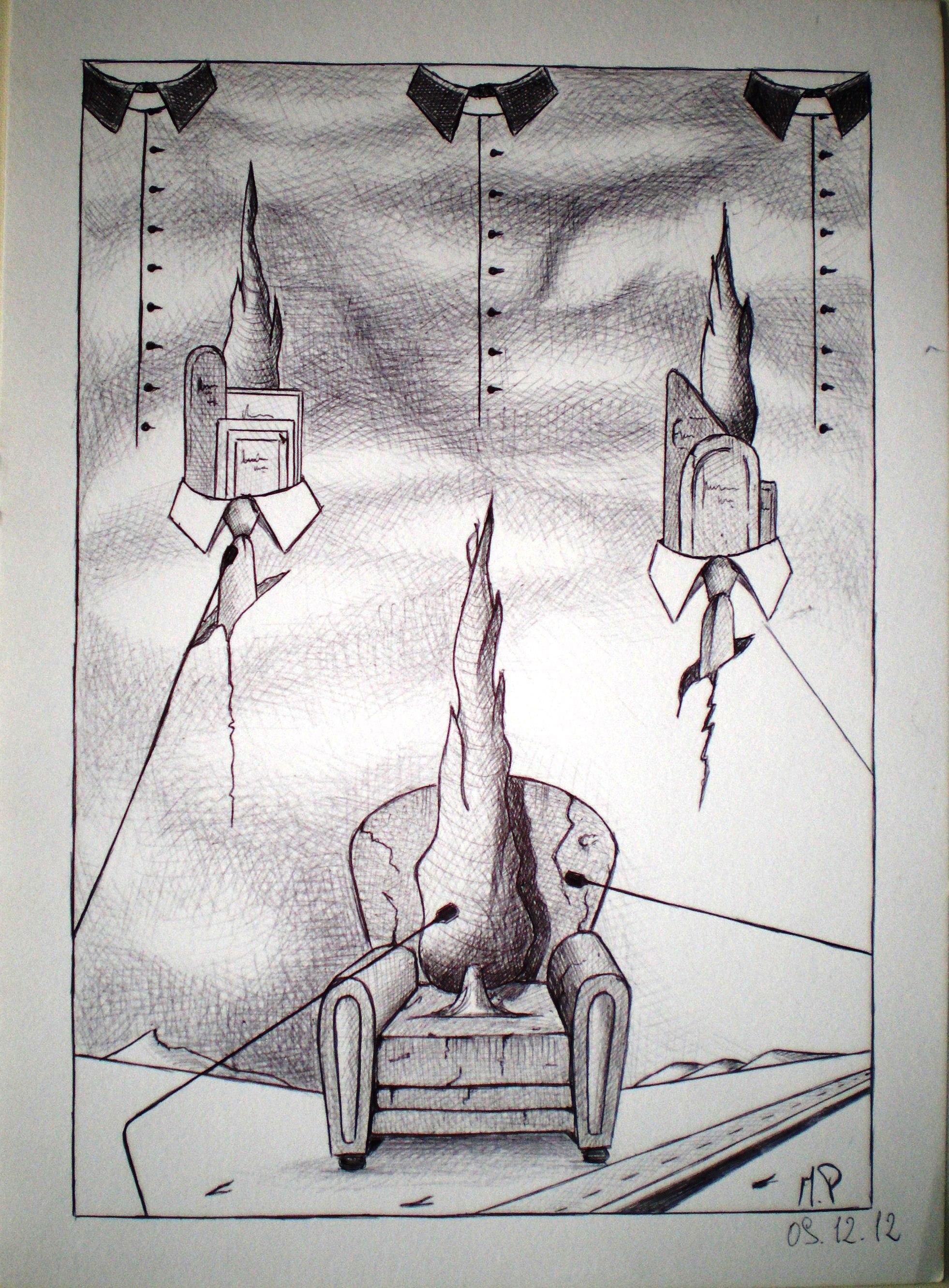 Il contraddittorio che manca (The contradictory missing), 2012 disegno a penna su carta ruvida ( pen drawing on rough paper) cm 24x32, Pasquale Mastrogiacomo, Acerno(SA).