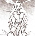 Disegno a penna,Su un trono in bilico con l'ambiguità di un mago, 15/02/2007 cm 21x29, Pasquale Mastrogiacomo Acerno(SA)