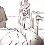 Disegno a penna, Contrapposizione inframezzata da una strada, 11/10/2007 cm 21x29,6, Pasquale Mastrogiacomo Acerno(SA)