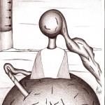 Disegno a penna, Contrapposizione a distanza, 21/10/2007 cm 21x29,6, Pasquale Mastrogiacomo Acerno(SA)