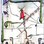 Disegno a penna e acquerello, Paesaggio cimiteriale 23/07/2012, Pasquale Mastrogiacomo Acerno