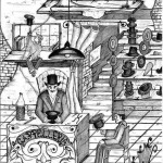 """Disegno a penna, Illustrazione """"Napolimagia"""" 2009, Pasquale Mastrogiacomo"""