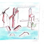 Dopo un nubifragio: schizzo (After a storm: sketch), 2014 disegno a penna e pastelli (pen drawing and pastels) cm 29,5x21, Pasquale Mastrogiacomo, Acerno (SA).