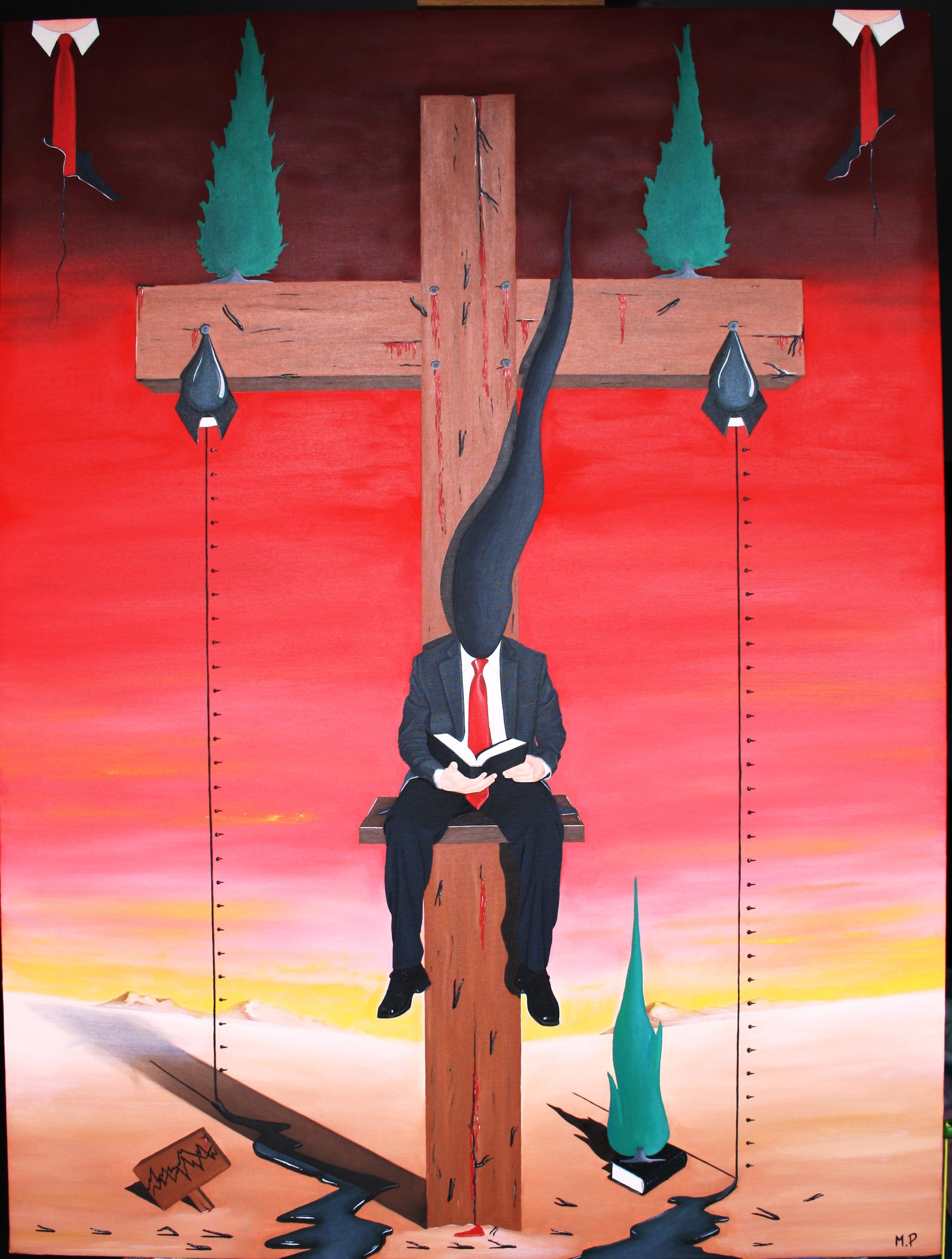 Sacrificio della Croce sull'altare della finanza, 2013 olio su tela 60x80 cm, Pasquale Mastrogiacomo Acerno(SA)