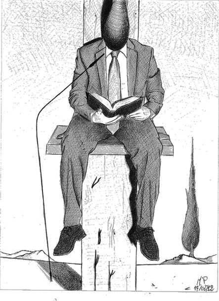 Disegno a penna 2012, Sacrificio della Croce sull'altare della finanza, Pasquale Mastrogiacomo Acerno(SA)