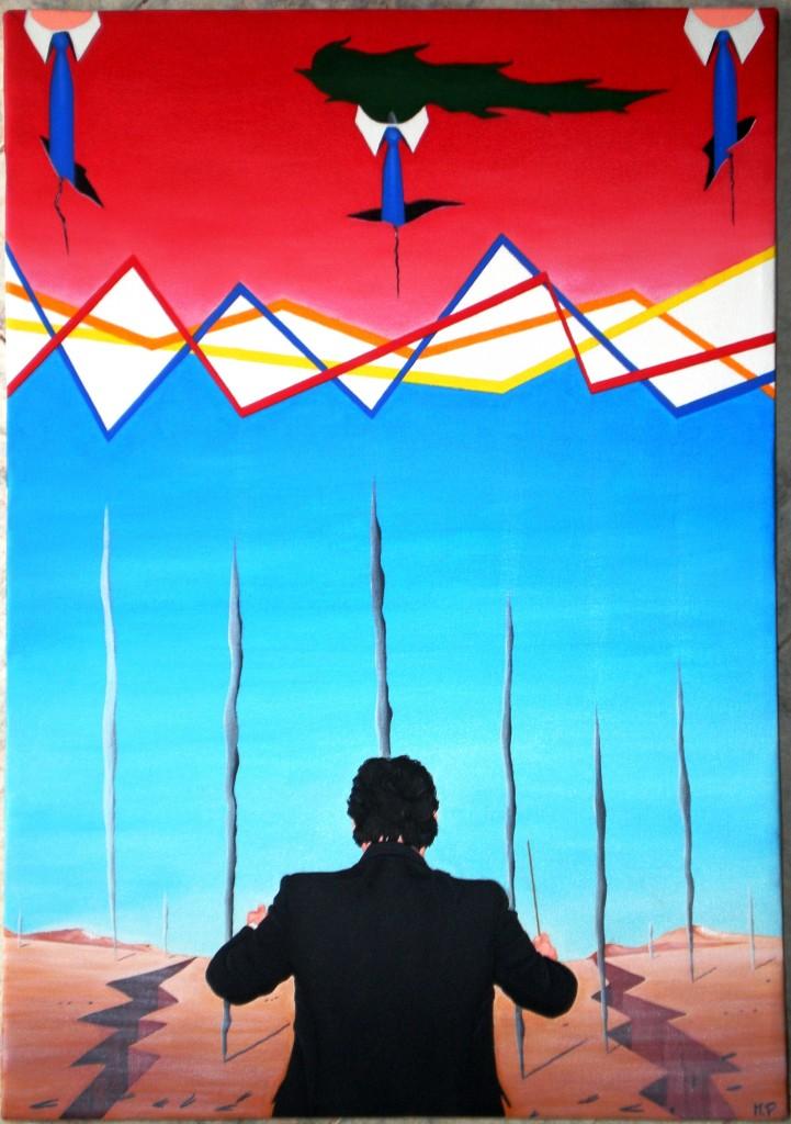 Direttore di swap, spread e fumi tossici, 2013 olio su tela  cm 35x50, Pasquale Mastrogiacomo, Acerno(SA)