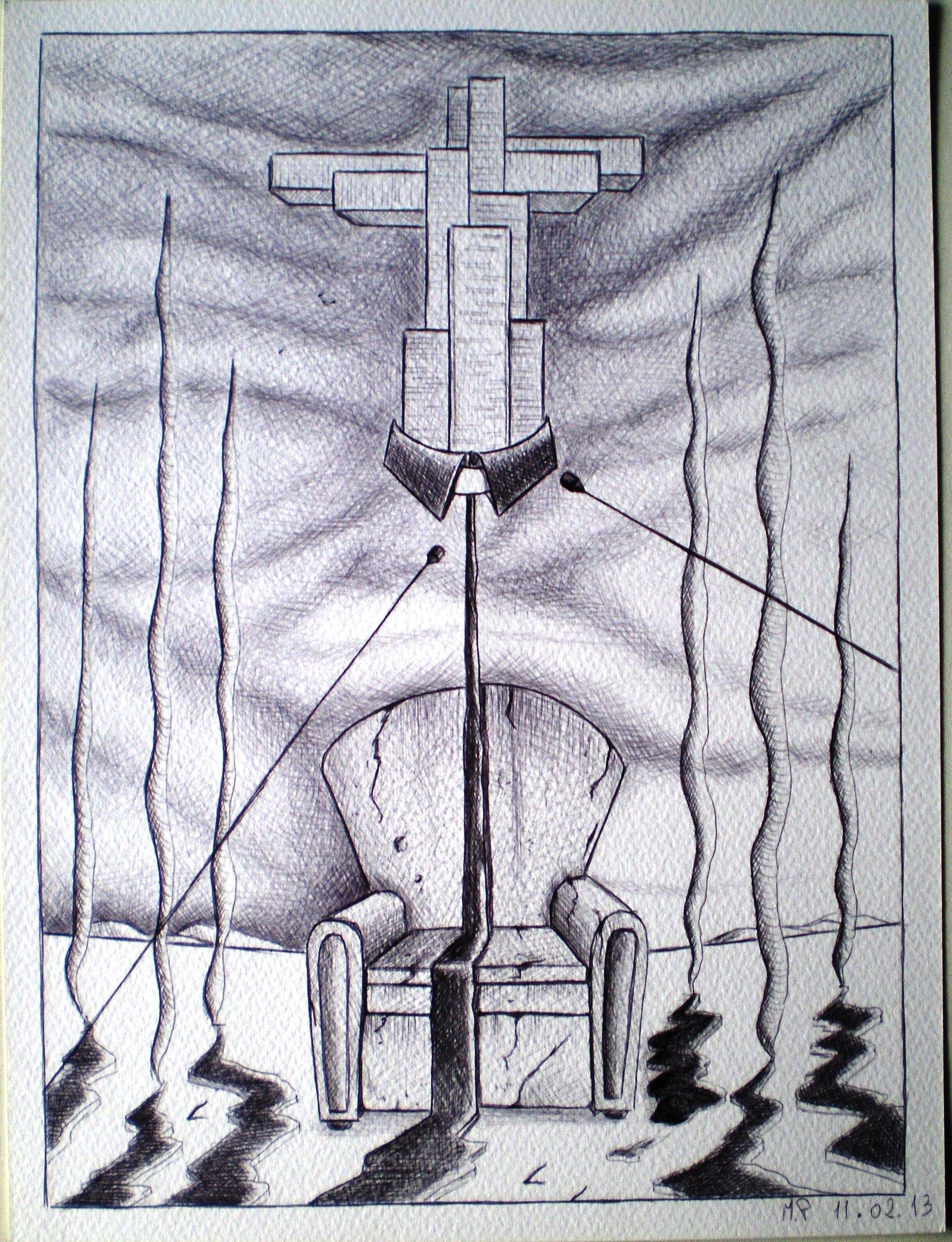 Disegno preparatorio, Tirannia del pregresso, 11/02/13 disegno a penna, Preparatory drawing, Tyranny of past, pen drawing, Pasquale Mastrogiacomo, Acerno (SA)