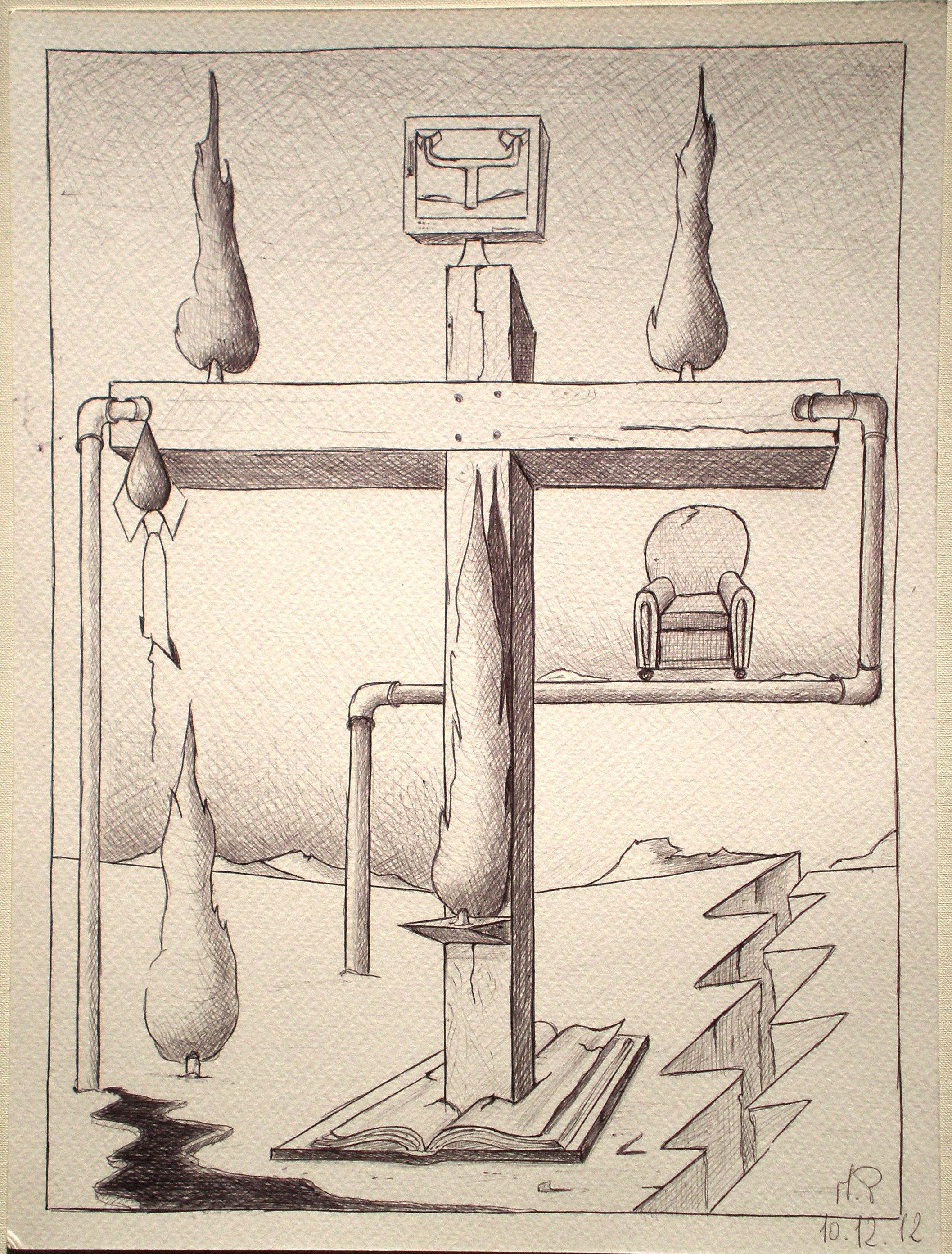 Tempi moderni (modern Times), 2012 disegno a penna (pen and ink drawing) cm 24x32, Pasquale Mastrogiacomo, Acerno (SA).