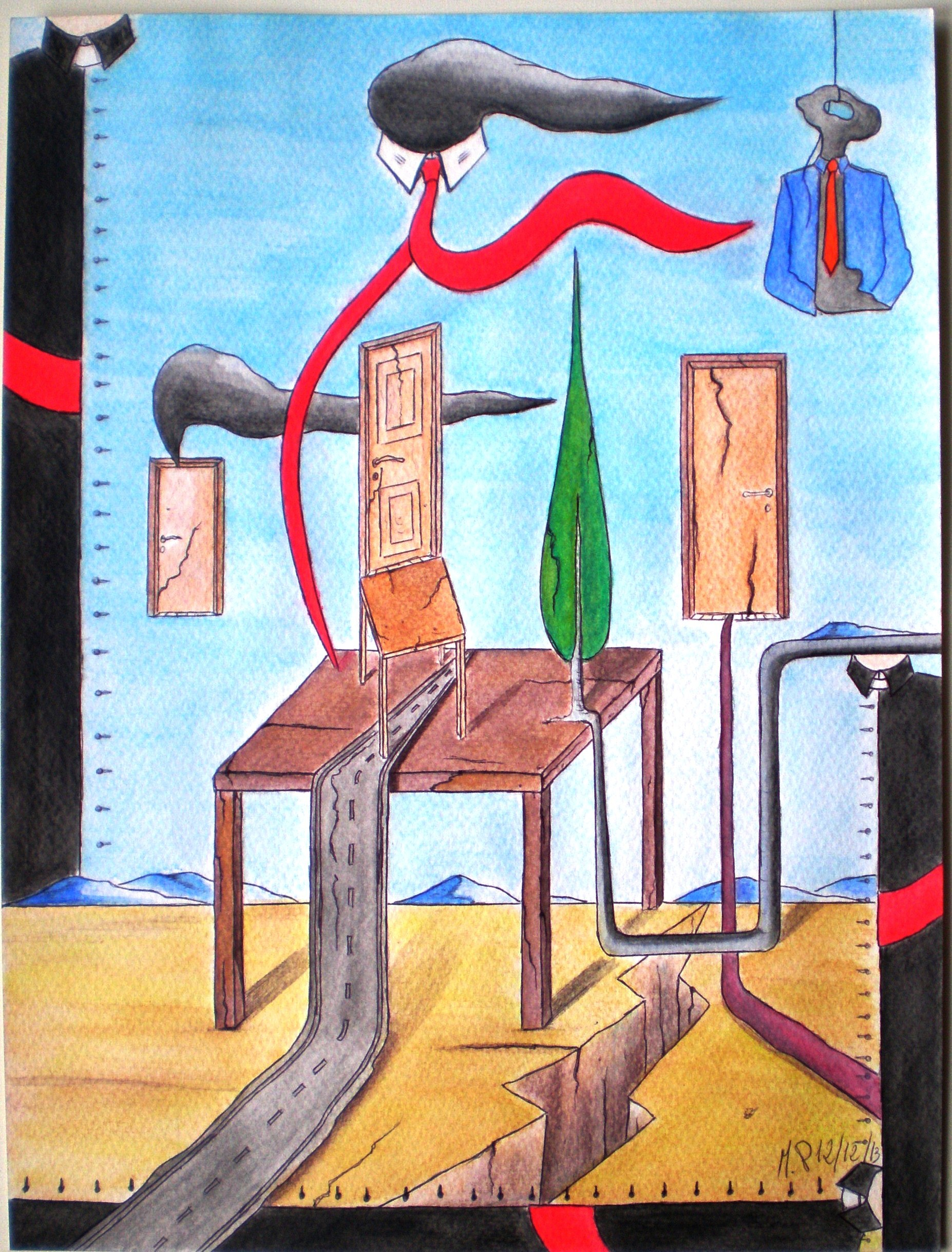 Danza di simboli (dance of symbols), 2013 disegno a penna e acquerello (drawing in pen and watercolor), cm 24x32, Pasquale Mastrogiacomo, Acerno (SA).