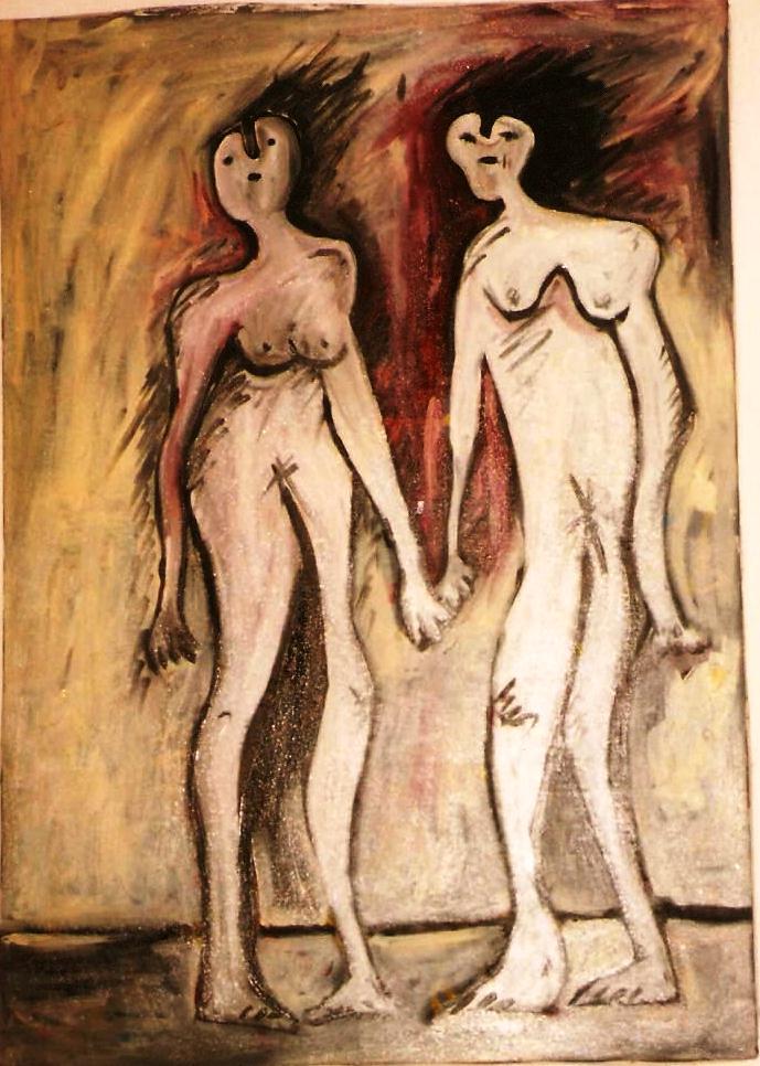 Adamo ed Eva pellegrini nel terzo millennio (Adam and Eve pilgrims in the third millennium), 1993 olio su tela ( Oil Painting) cm 60x80, Pio Mastrogiacomo, Acerno (SA).