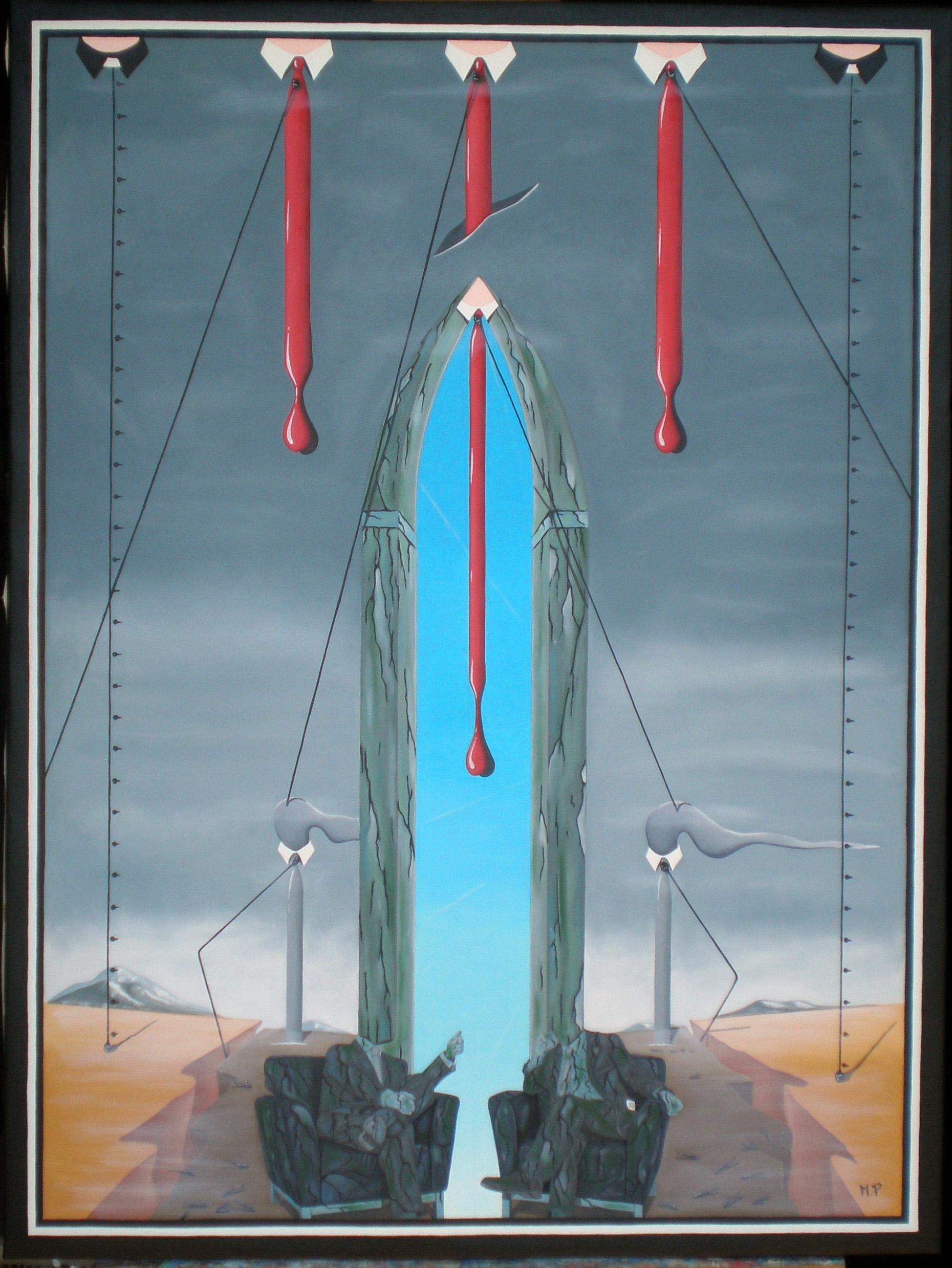 Testimoni del crollo finanziario, 2014 olio su tela cm 60x80, Pasquale Mastrogiacomo Acerno(SA)