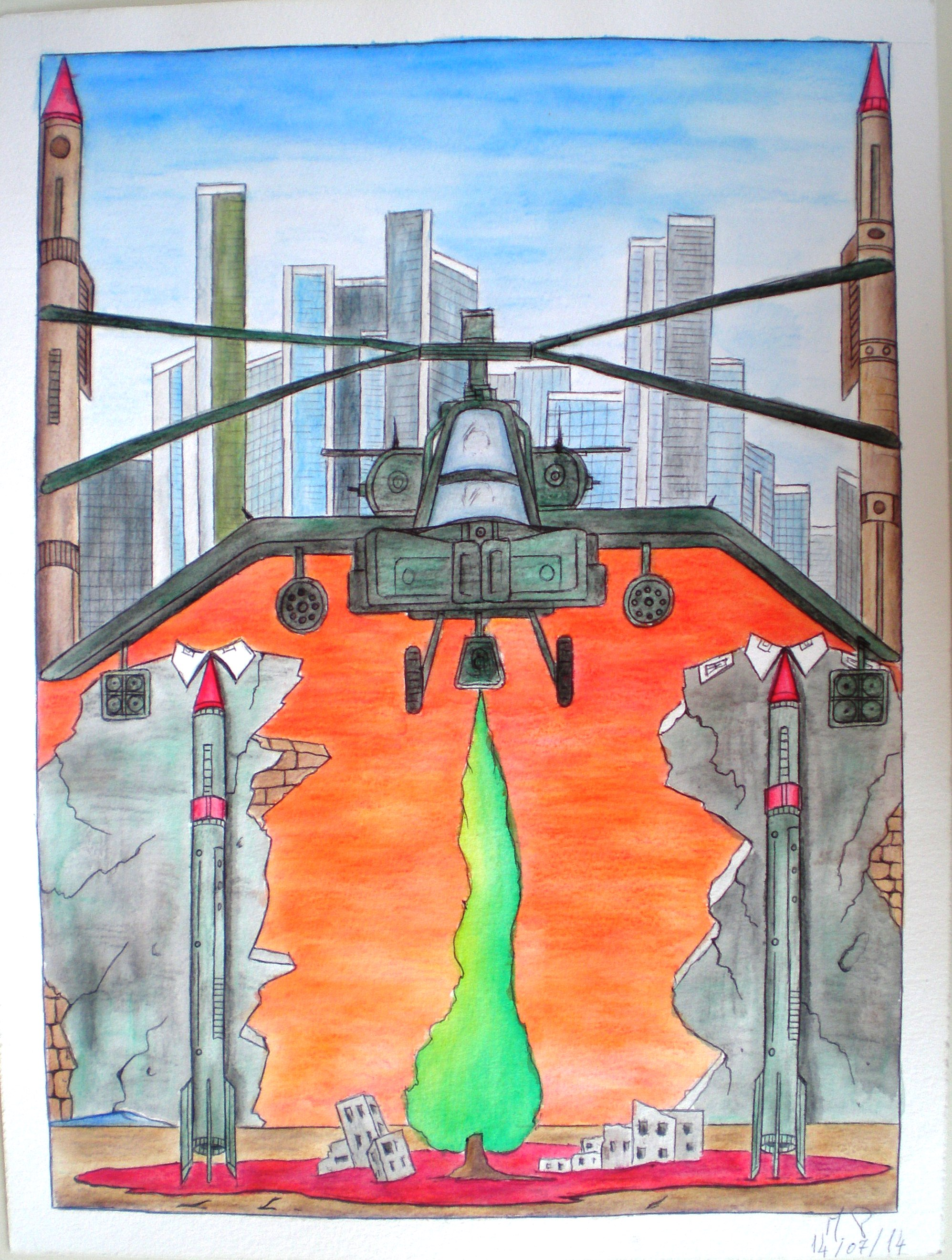 Sovrapposizione di civiltà (superposition of civilization), 2014 disegno a penna e acquerello (drawing in pen and watercolor) cm 30x40, Pasquale Mastrogiacomo, Acerno (SA).
