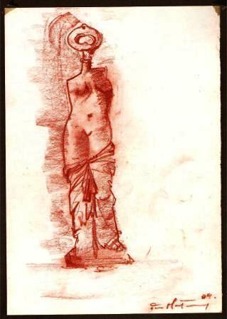 Venere delle chiavi (Venus keys), 1989 disegno (design), sanguigna su carta, cm 21x29,5, Pio Mastrogiacomo, Acerno (SA).