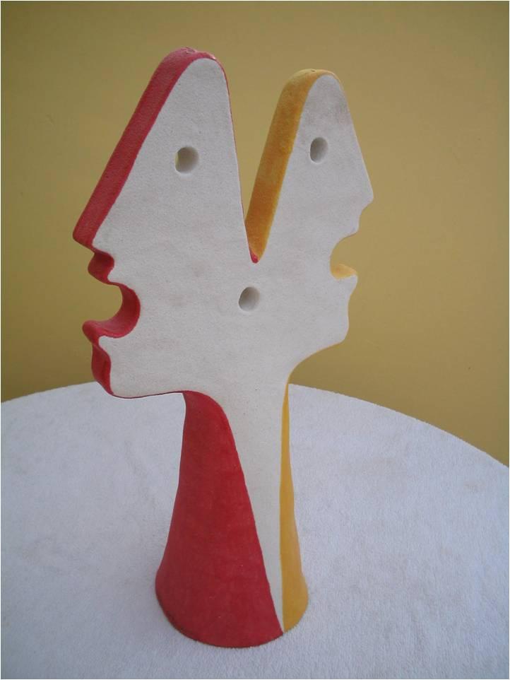 Conversazione (conversation), 2004 scultura (sculpture), ceramica artistica (ceramic art) h cm 46, Pasquale Mastrogiacomo, Acerno (SA)