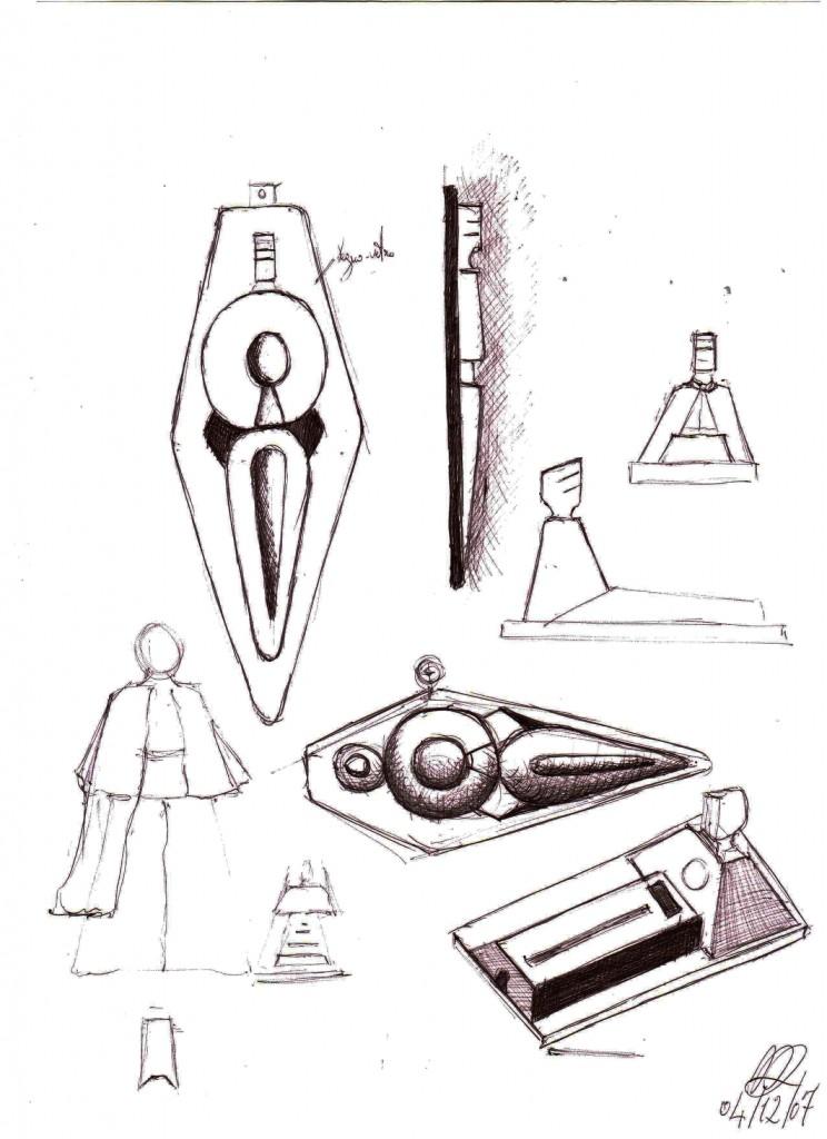 Schizzi per bassorilievo e tutto tondo (Sketches for relief and the round), 2007 disegno a penna su carta (Pen drawing on paper) cm21x29,5, Pasquale Mastrogiacomo, Acerno (SA).