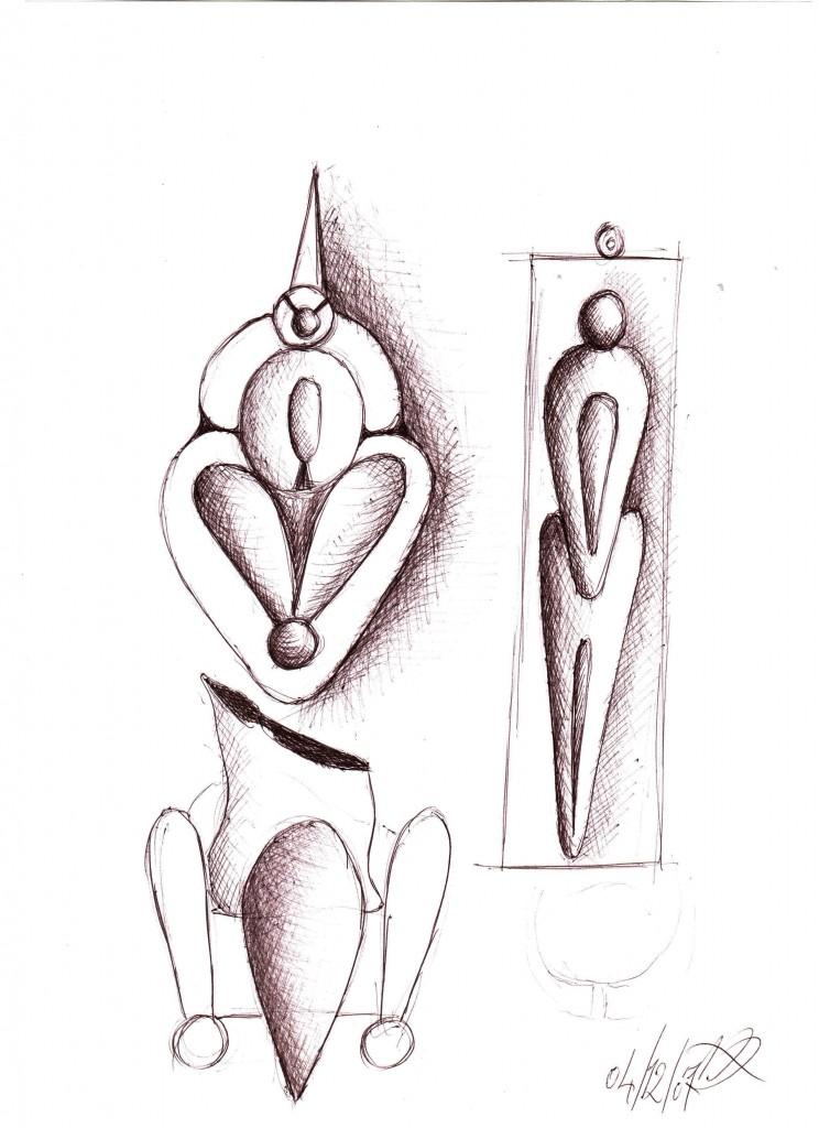 Figure femminili: schizzi (Female figures: sketches), 2007 disegno a penna su carta, (pen drawing on paper) cm 21x29,5, Pasquale Mastrogiacomo, Acerno (SA).
