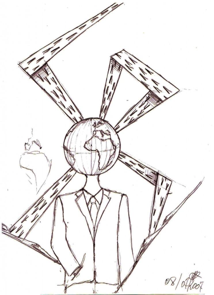 Transiti: schizzo (Transits: sketch), 2007 disegno a penna su carta (pen drawing on paper), cm 21x29,5, Pasquale Mastrogiacomo, Acerno (SA).