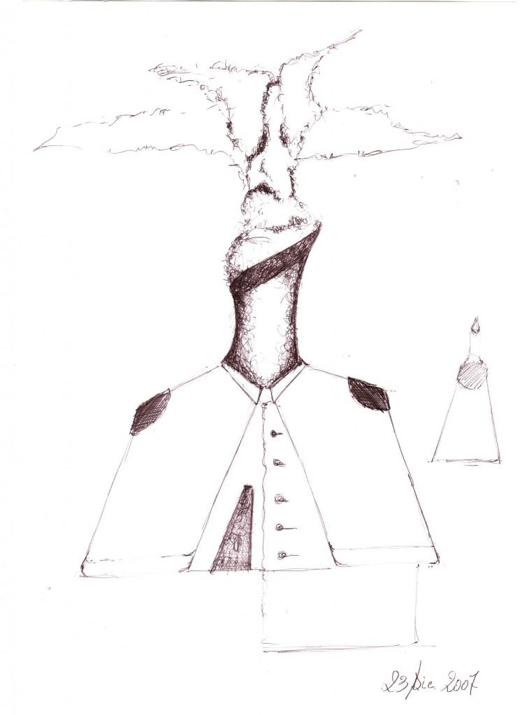 Mezzobusto di una ciminiera: schizzo (Bust of a chimney: sketch), 2007 disegno a penna su carta (pen drawing on paper), cm 21x29,5, Pasquale Mastrogiacomo, Acerno (SA).