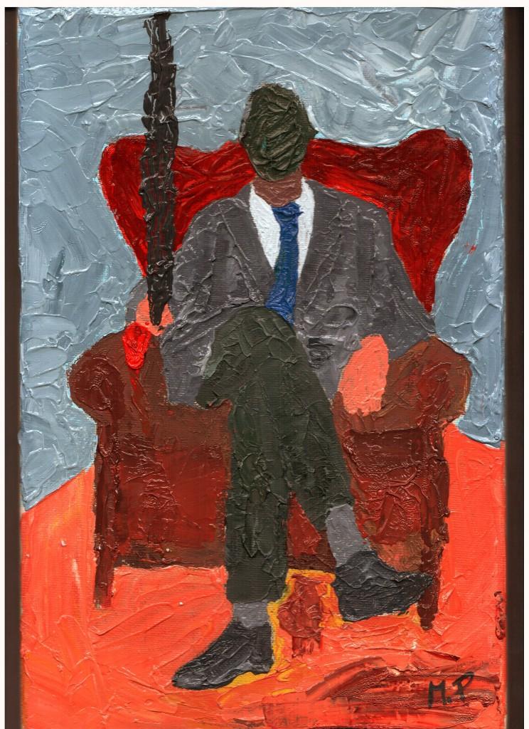 Storico che contempla il presente (Historical contemplating present),  2015 dipinto olio su tela (oil on canvas), cm 20x30, Pasquale Mastrogiacomo, Acerno (SA).