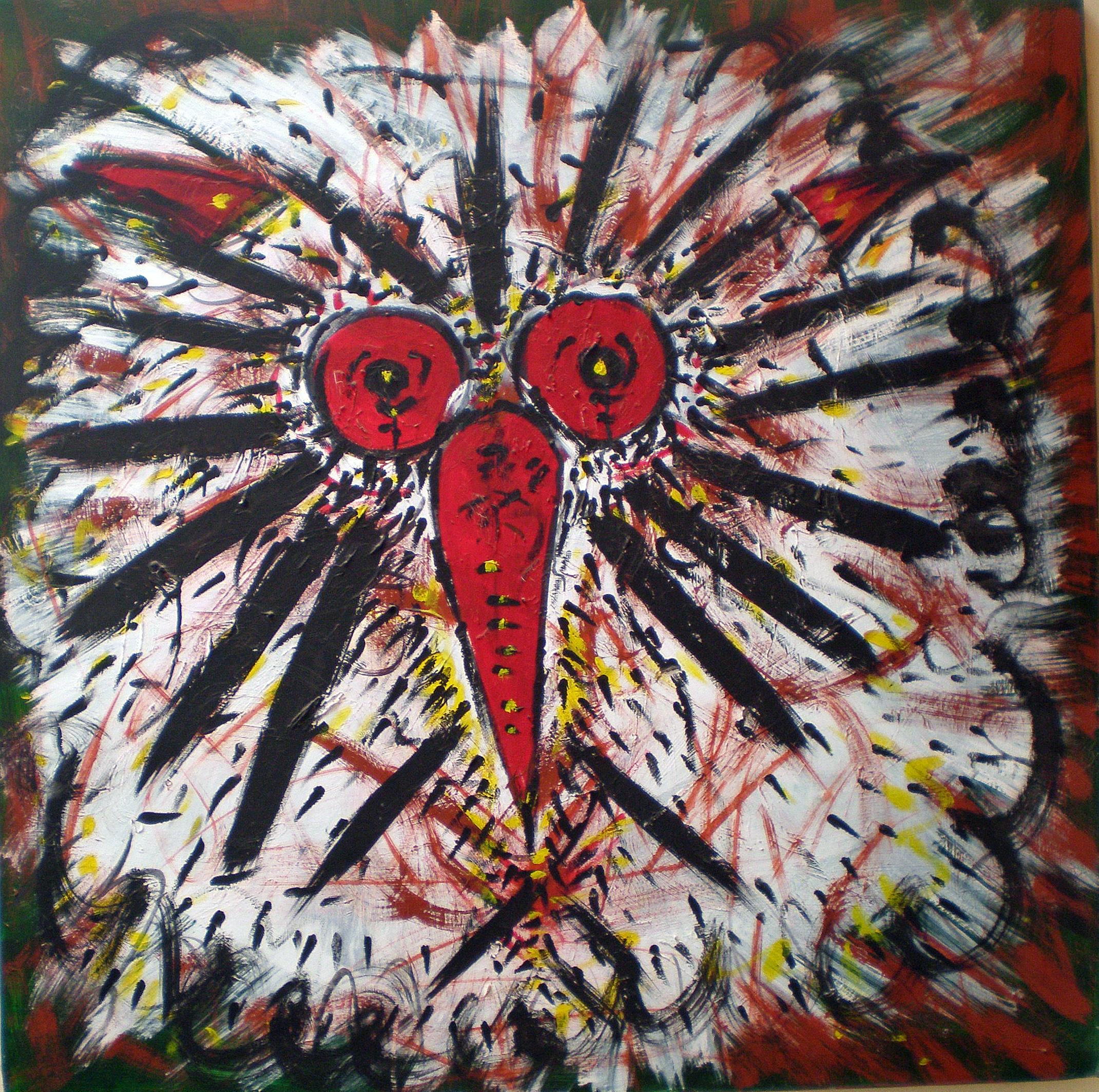 Un'espressione attonita di un gufo (A stunned expression of an owl), 1994 dipinto acrilico su tela ( painting acrylic on canvas) cm 100x100, Pio Mastrogiacomo, Acerno (SA).