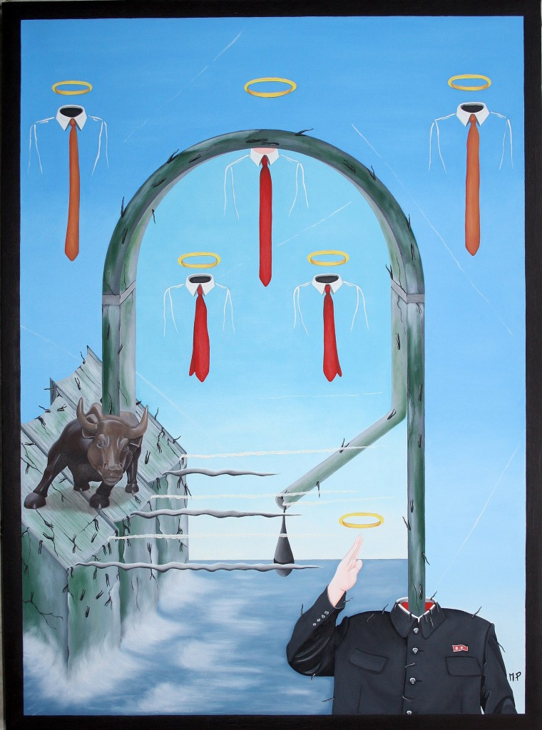 Tirannie a confronto (Tyrannies in comparison), 2015 dipinto olio su tela (painting oil on canvas) cm60x80, Pasquale Mastrogiacomo, Acerno (SA).