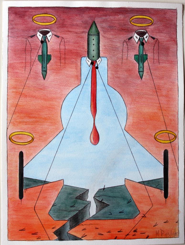 Lacerazione (Laceration), 2015 disegno a penna e acquerello (Pen drawing and watercolor), cm 30x40, Pasquale Mastrogiacomo, Acerno (SA).