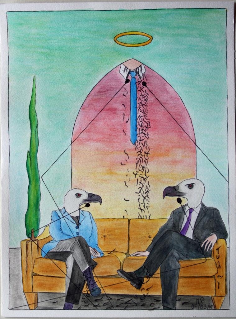 Incontro diplomatico (Diplomatic meeting), 04/03/2015 disegno a penna e acquerello (pen drawing and watercolor), cm 30x40, Pasquale Mastrogiacomo, Acerno (SA).