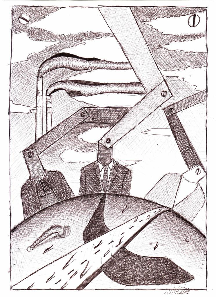 Meccanismi monoteistici (Monotheistic mechanisms), 2007 disegno a penna su carta, (pen drawing on paper) cm 21x29,5, Pasquale Mastrogiacomo, Acerno (SA).