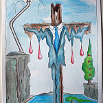 Istogramma di una crocifissione (Histogram of a crucifixion), 14/04/2016 disegno a penna e acquerello (pen drawing and watercolor), cm 24x32, Pasquale Mastrogiacomo, Acerno (SA).