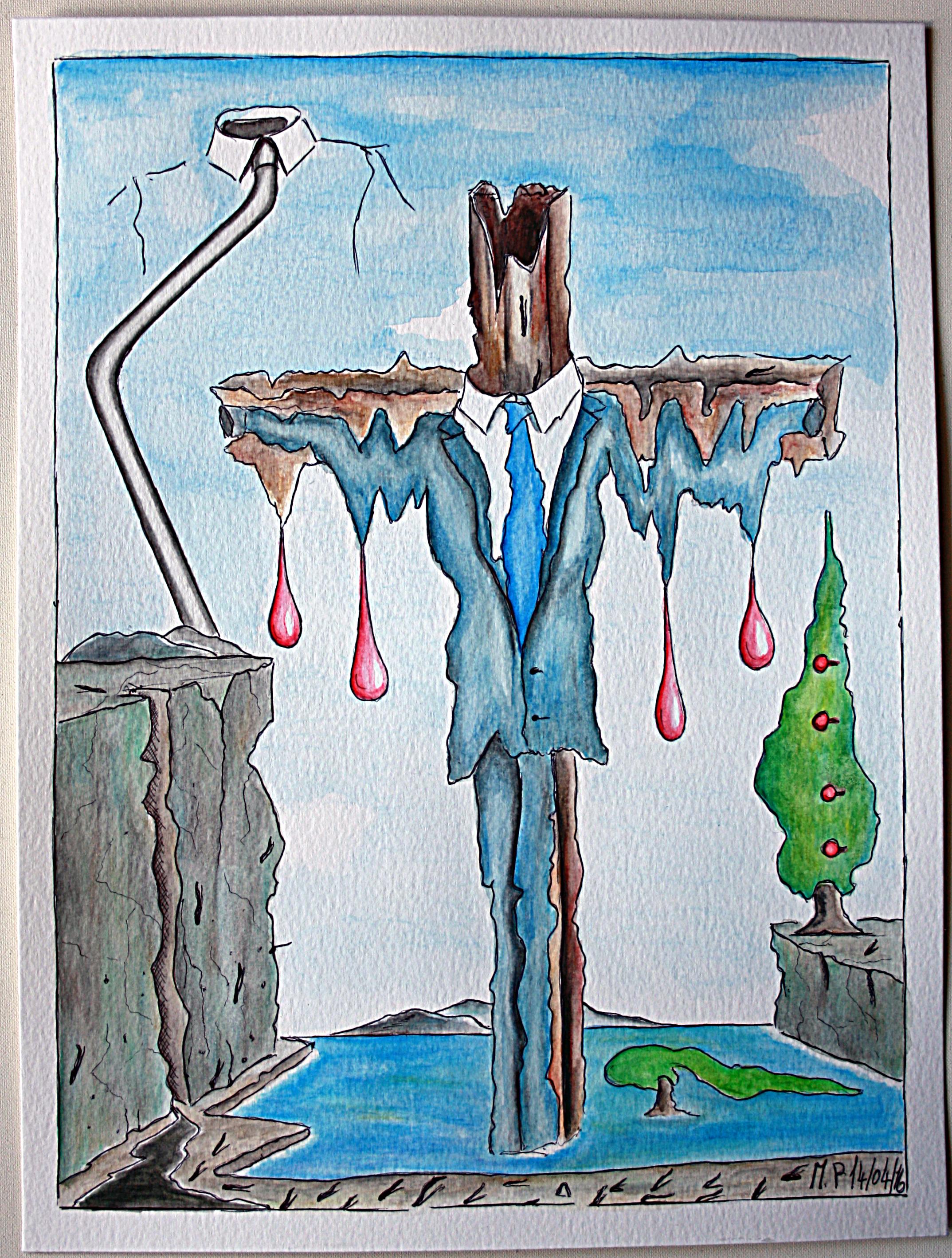 Istogramma di una crocifissione (Histogram of a crucifixion), 14/04/2016 disegno a penna e acquerello (pen drawing and watercolor), cm 24x32, Pasquale Mastrogiacomo, Acerno (SA).