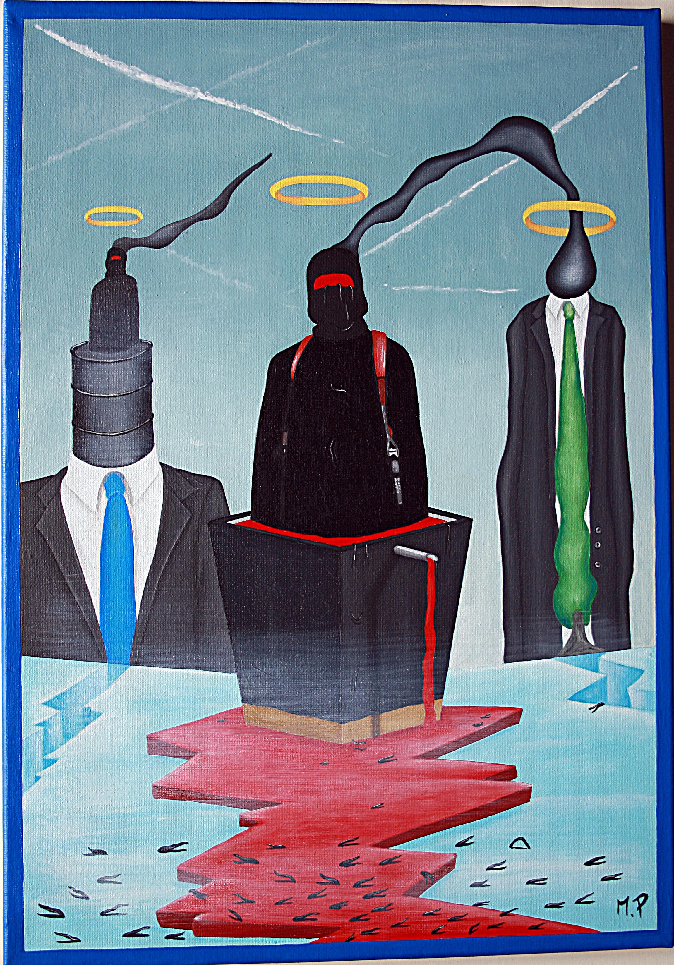 Complicità rivali (complicity rivals), 2016 olio su tela (oil painting on canvas), cm 35x50, Pasquale Mastrogiacomo, Acerno (SA).