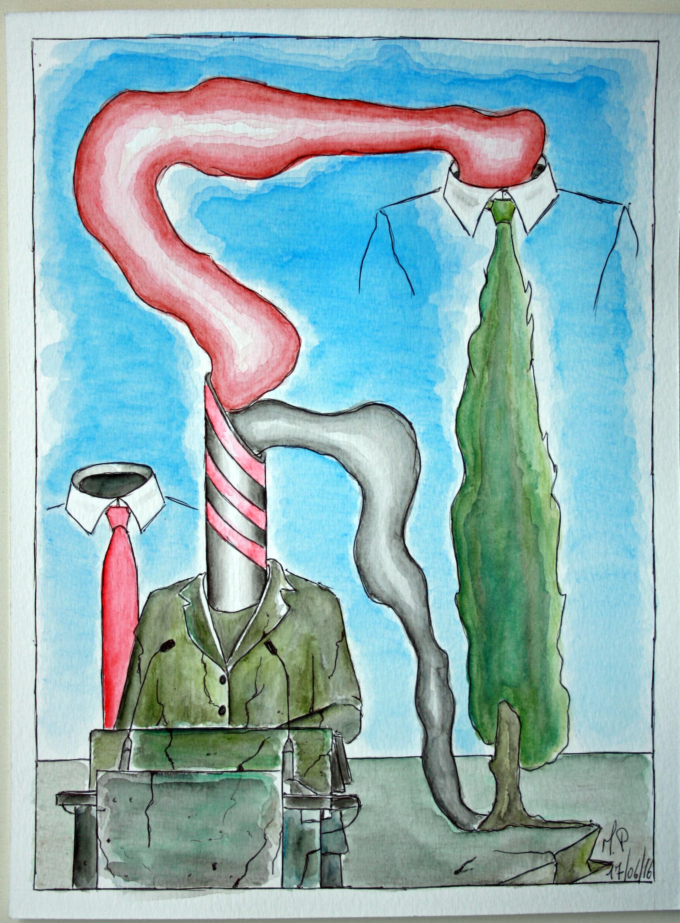 Trasmigrazione (Transmigration), 17/06/2016 disegno a penna e acquerello (pen drawing and watercolor), cm 24x32, Pasquale Mastrogiacomo, Acerno (SA).