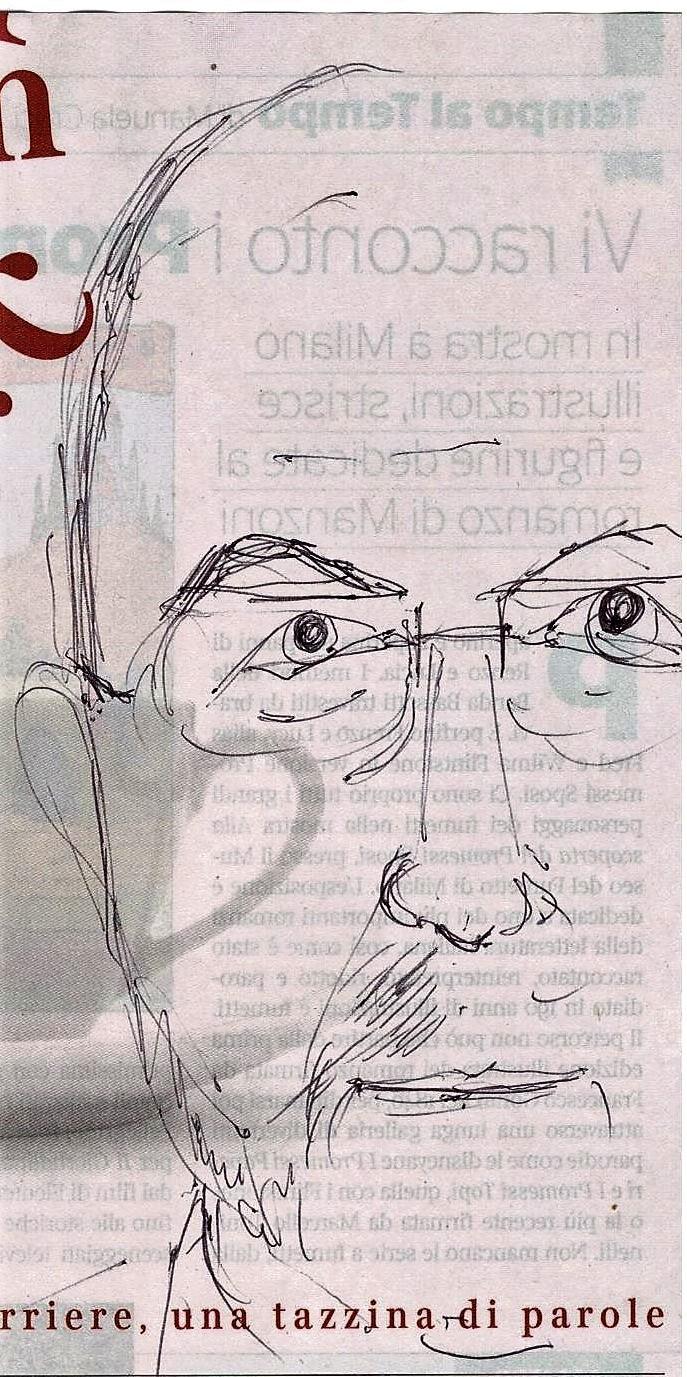 Scarabocchio a penna (Scribble pen), 2017, Massimo Gramellini, disegno a penna su giornale, Pasquale Mastrogiacomo, Acerno (SA).
