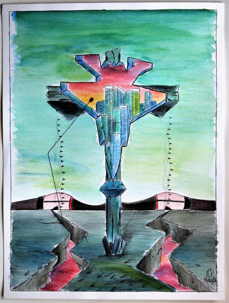 Peccati della Finanza (Sins of the Finance), 16/02/17 disegno a penna e acquerello (pen drawing and watercolor), cm 30×40, Pasquale Mastrogiacomo, Acerno (SA).