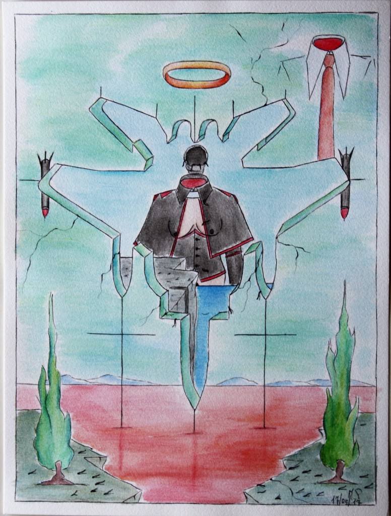 Corrispondenze metafisiche (Metaphysical Matches),  2017 disegno a penna e acquerello (pen drawing and watercolor), cm 30×40, Pasquale Mastrogiacomo, Acerno (SA).