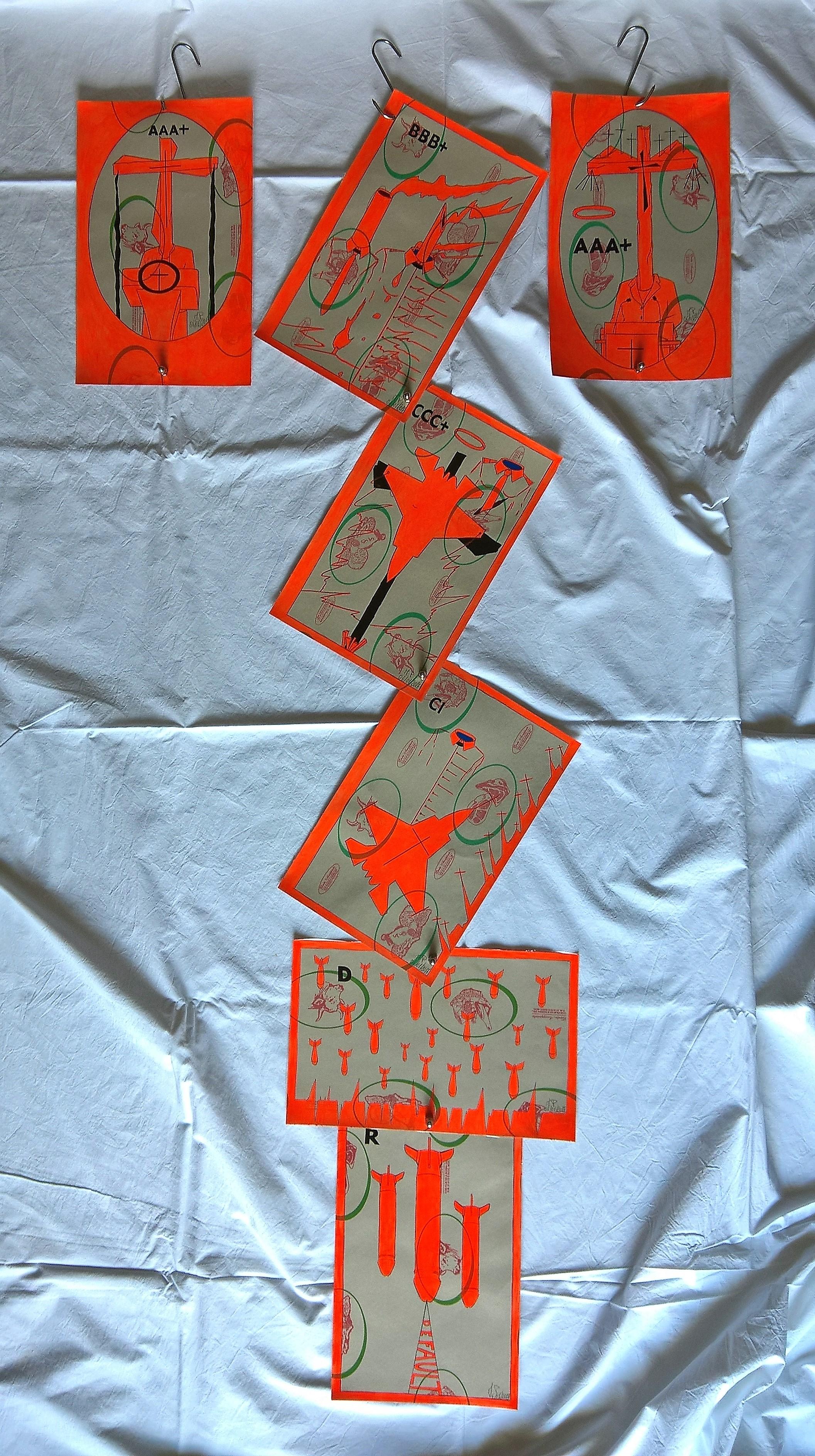 Crocifissione per Default.Disegni eseguiti con penna nera e rosso fluorescente su carta politenata (carta per alimenti usata in macelleria) successivamente plastificata. Biennale del libro d'artista 2017, Napoli. Pasquale Mastrogiacomo, Acerno (SA).