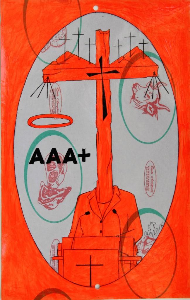 Disegno eseguito con penna nera e rosso fluorescente su carta politenata (carta per alimenti usata in macelleria) successivamente plastificata. Biennale del libro d'artista 2017, Napoli. Pasquale Mastrogiacomo, Acerno (SA).