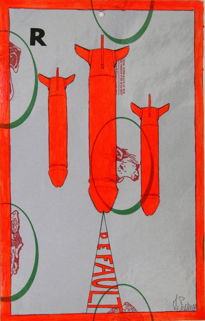 Crocifissione per Default (composizione 7/7). Disegno eseguito con penna nera e rosso fluorescente su carta politenata (carta per alimenti usata in macelleria) successivamente plastificata. Biennale del libro d'artista 2017, Napoli. Pasquale Mastrogiacomo, Acerno (SA).