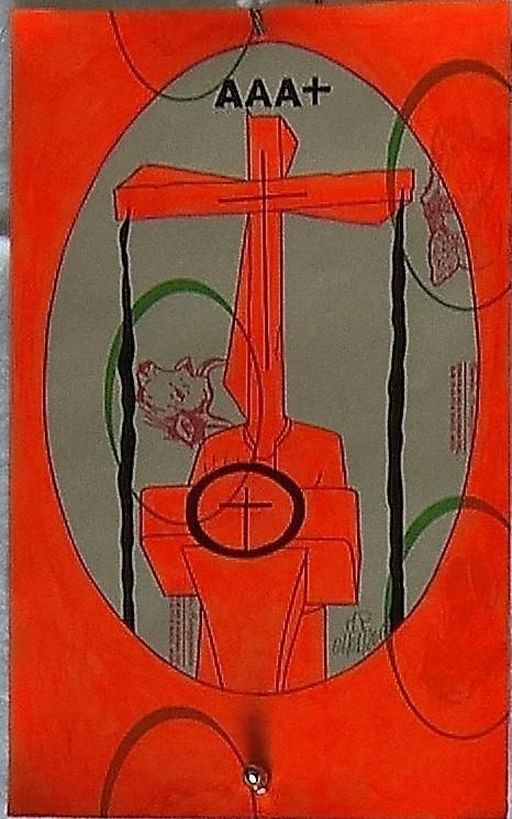 Crocifissione per Default (composizione 1/7). Disegno eseguito con penna nera e rosso fluorescente su carta politenata (carta per alimenti usata in macelleria) successivamente plastificata. Biennale del libro d'artista 2017, Napoli. Pasquale Mastrogiacomo, Acerno (SA).