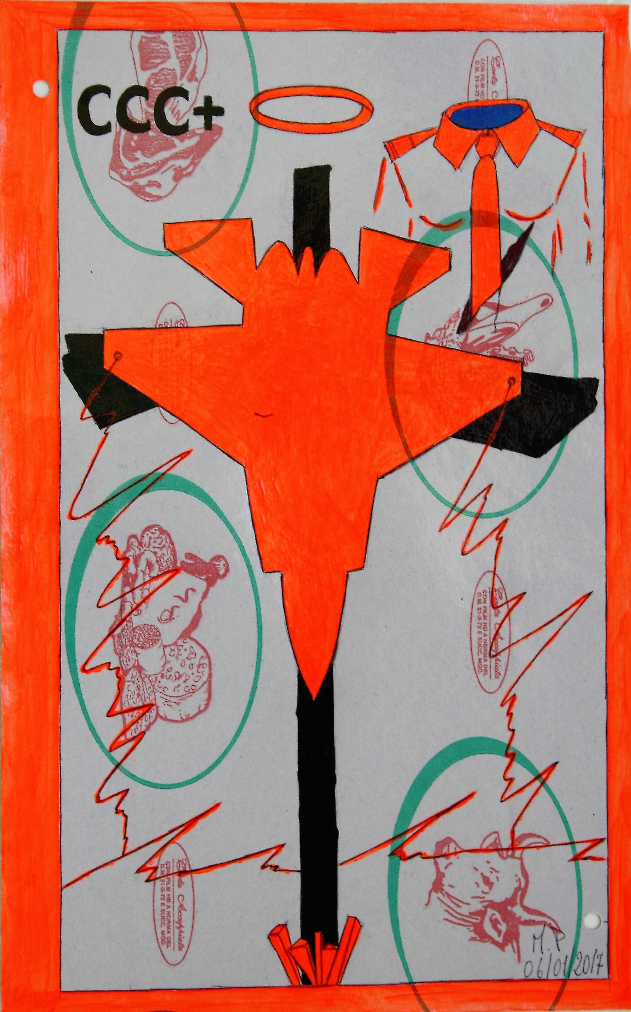 Crocifissione per Default (composizione 4/7). Disegno eseguito con penna nera e rosso fluorescente su carta politenata (carta per alimenti usata in macelleria) successivamente plastificata. Biennale del libro d'artista 2017, Napoli. Pasquale Mastrogiacomo, Acerno (SA). Biennale del libro d'ar