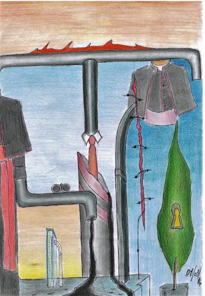 Città visibile, 2014,disegno a penna e matite colorate su foglio A4 riciclato (pencil design and colored pencils on recycled A4 sheet),Pasquale Mastrogiacomo,Acerno(SA).