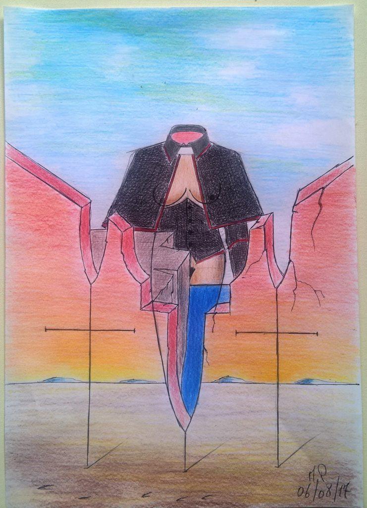 Intellighenzia ambivalente, 2017, disegno a penna e matite colorate su foglio A4 riciclato (pencil design and colored pencils on recycled A4 sheet),Pasquale Mastrogiacomo,Acerno(SA).