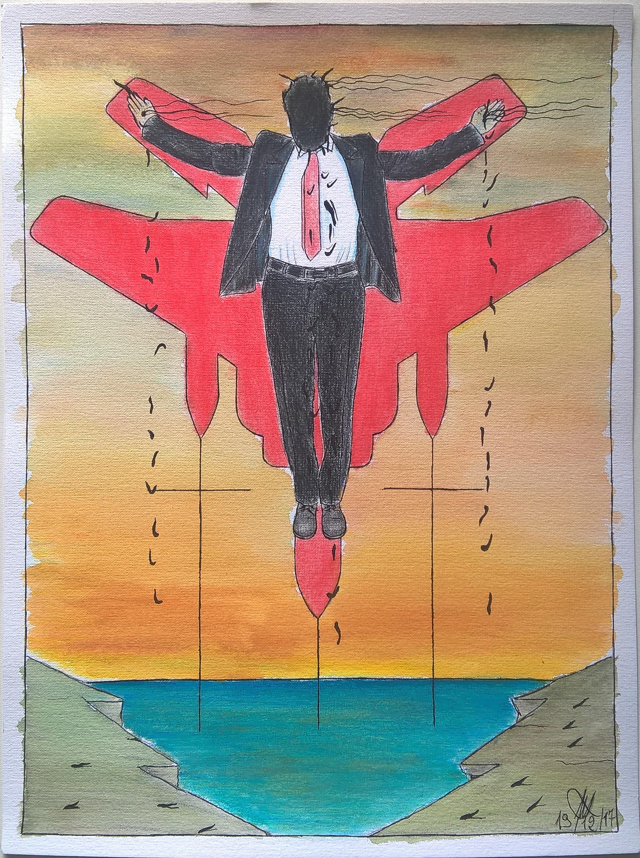 Crocifissione di un colletto bianco (Crucifixion of a white collar),2017 disegno con matite acquerellabili e matite colorate (drawing with watercolor pencils and colored pencils), cm 30×40, Pasquale Mastrogiacomo, Acerno (SA).