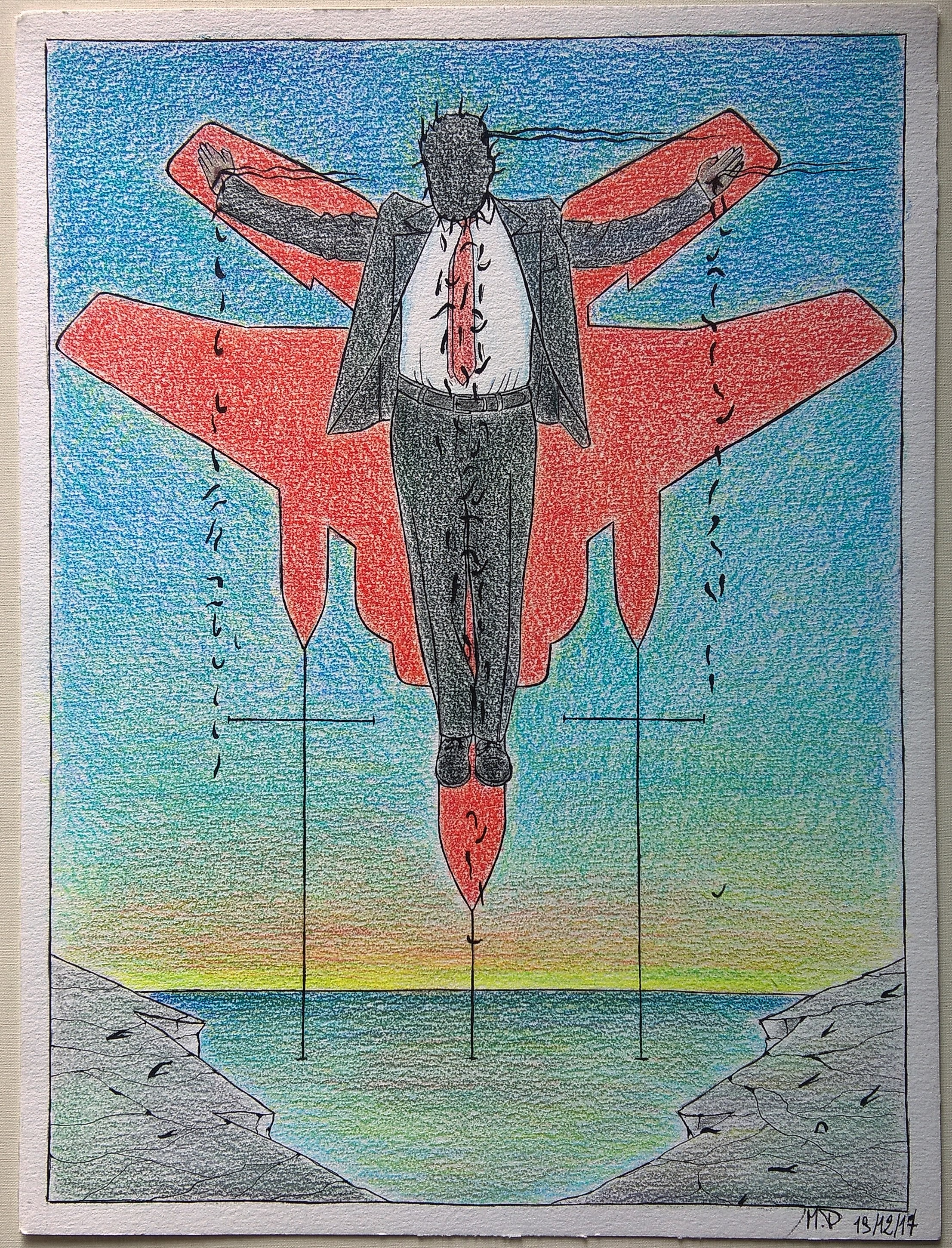 Crocifissione di un colletto bianco (Crucifixion of a white collar),2017 disegno con matite colorate e inchiostro nero ( drawing with colored pencils and black ink), cm 30×40, Pasquale Mastrogiacomo, Acerno (SA).